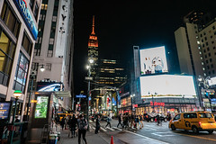 Busy Street (Jocey K) Tags: sonydscrx100m6 triptocanadaandnewyork architecture street people cars roadcones billlbroads empirestatebuilding newyorkcity