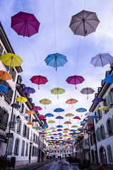 Rain of colors (Christine Barras) Tags: carouge parapluie rue