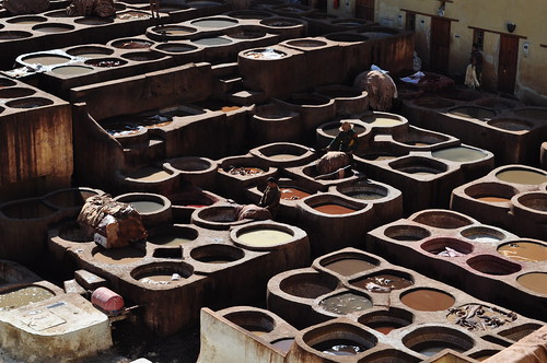 Tanneries de Chouwara, médina de Fès el Bali, Fès, Maroc.