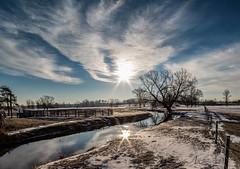 Hohner Creek (Bill McDonald 2016) Tags: creek river stream ontario snow winter sun sunrise sunset fence december tree hdr billmcdonald reflection glare