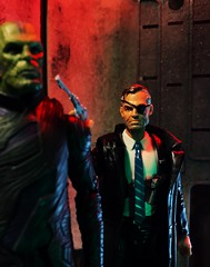 Fury: Do you know who I am?             Skrull: They call you The Man on the Wall.                                                         Fury: That's right. (chevy2who) Tags: actionfigure marvelcomics skrull nickfury toyphotography toy legends marvel fury nick