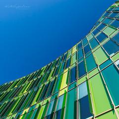 Shades of green (Karsten Gieselmann) Tags: 714mmf28 blau em5markii europa farbe fassade grün mzuiko malmo microfourthirds olympus reise stadt sweden architecture blue city color facade front green kgiesel m43 mft travel malmö skånelän schweden