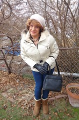 Mid-January And No Snow Cover In Southern Wisconsin (Laurette Victoria) Tags: boots leggings coat parka hat gloves laurette woman purse