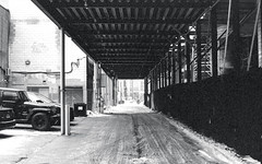 North South Alley Way West of Yonge (Bill Smith1) Tags: believeinfilm billsmithsphotography canonnewf1 fdn50f14lens hc110b heyfsc kodaktrix4001600 toronto