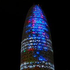 Torre Agbar lights (Fnikos) Tags: tower light building architecture skyscraper sky colour color night nightshot nightview outdoor