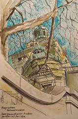 Bayrisches Nationalmuseum München - explored :-) (Jutta Richter) Tags: urbansketch urbansketchers watercolour watercolor inkliner tree museum bayrischesnationalmuseum greatview drawing perspective zeichnung skizze münchen
