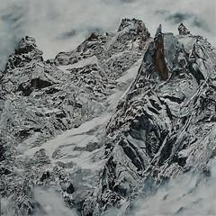"""""""Aiguille des deux aigles"""" Acrylique sur toile 100x100cm À vendre"""
