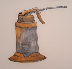 Oil Can (ianulimac) Tags: watercolors paint painting art draw doodle scribble oldtools yankeescrewdriver circularsaw oilcan drillbits braceandbit shoulderdrill sabresaw old antique nippers oldtimey crookedpinkiesart ianmacdonald paper