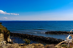 View Sagami Bay from Koyurugi Misaki Cape, Koshigoe, Kamakura : 小動岬より相模湾の展望 (Dakiny) Tags: 2019 spring march japan kanagawa fujisawa enpshima katasekaigan shonancoast sea sky blue bluesky nikon d750