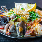Seafood with grilled vegetables in cream sauce thumbnail