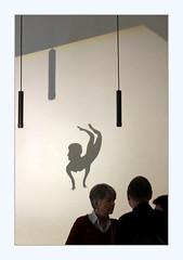 Shadow theatre (overthemoon) Tags: switzerland suisse schweiz svizzera romandie vaud lausanne mcba museum musée beauxarts inauguration plateforme10 ebv architecture barozziveiga shadows silhouettes lamps walls people frame