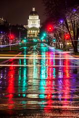 Those Rainy Night Vibes (mikeperryphotography) Tags: sacramento downtownsacramento sacramentonight sac rain rainynight wateronroad capitol statecapitol californiacapitol californiastatecapitol slickstreets