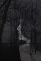 And who knows wich is wich and who is who (chiara ...) Tags: doubleexposure digital monochrome portrait prof profile girl trees dark