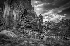 Capitol Reef National Park (donnieking1811) Tags: utah fruita capitolreefnationalpark capitolreef nationalpark park blackwhite bw mountain rocks boulders shrubs landscape outdoors sky clouds hdr canon 60d lightroom photomatixpro