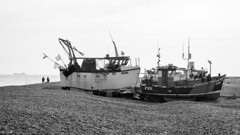 Ship Spotting (ShrubMonkey (Julian Heritage)) Tags: beach shingle dungeness kent romanymarsh nautical fishingboats ship fishing candid people fishermen boats