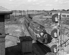 B&M BL2 #1552 on a passenger train at Salem, MA (Houghton's RailImages) Tags: bl2 salem bostonmaine railroad emd bw trains locomotives massachusetts passengertrain