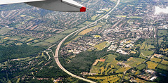 England. The M25 motorway at Leatherhead. (M McBey) Tags: leatherhead london aerial flying motorway m25 countryside england fields 50mmf20ai nikon d7100