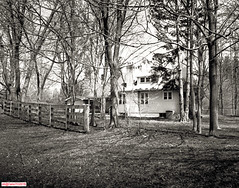 House in the woods (DelioTO) Tags: 4x5 d23 blackwhite canada f313 fomapan100 landscape natparks ontario pinhole trails wild wilket woods