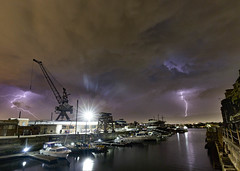 2 Strikes || Cockatoo Island (David Marriott - Sydney) Tags: sydney newsouthwales australia au nsw cockatoo island lightning crane bot harbour harbor night nightscape cloud storm