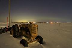 Madden Alberta tractor and aurora (John Andersen (JPAndersen images)) Tags: alberta farm tractor fence snow aurora winter night