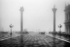 Fog and Grain (photofitzp) Tags: bw blackandwhite fog grainy italy mist stmarkssquare venice