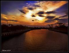 Sunset (VERODAR) Tags: sunset river riverbank johor johorriver kotatinggi sky clouds sun trees bridge verodar veronicasridar