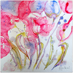 2019/ Watercolour:...freshness and cheerfulness (Nadia Minic) Tags: flowers tulips pink januarytulips fresh joyfull watercolour spontaneouspainting art contemporary modern artistnadiaminic luxembourg