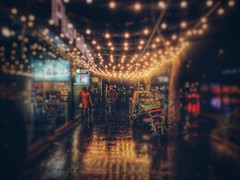 (despo_16) Tags: bokehlicius bulbs motion citylife amateur reflection mirror glamour iphonephotography iphone6s iphone flicker photography citynight tree rain night city street red yellow flower bike cars people color lights blur lens bokeh
