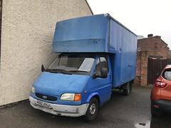 (Sam Tait) Tags: transport commercial light small 1997 lwb 100 petrol 20 classic rare retro blue faded van box luton mk3 transit ford