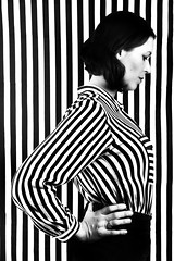 Stripes (in Explore) (elgunto) Tags: portrait blackwhite contrast graphicdesign highcontrast lines stripes people studio flashes sonya7 laea4 konicaminolta minoltaaf1735mmf284