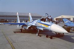 57 Blue Sukhoi Su27A  EGVA 20-07-96 (MarkP51) Tags: 57blue sukhoi su27a flanker ukraineairforce raffairford egva airshow military aircraft airplane plane image markp51 nikon f301 kodachrome64 slide film scan