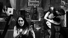 Event Horizon March 2019 032 (byronv2) Tags: music musician woman women makeup stage band krow krowandtheelectrictemple goth gothic punk electro blackandwhite blackwhite bw monochrome dance shorelineofinfinity eventhorizon edinburgh edimbourg scotland frankensteins georgeivbridge