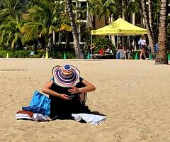 Sandy beach, sunshine and a cell (peggyhr) Tags: peggyhr beach candid cell coconuttrees img7014a hawaii