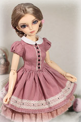 Gentle Pink adorable spring dress (Sewing Fairy) Tags: handmade doll dress clothes msd minifee bjd fairyland flowers lace sewing seorin girl