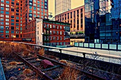 On the wrong side - High Line, New York City (Andreas Komodromos) Tags: abstract andreaskomodromos architecture attraction buildings chelsea city cityscape destination dusk elevated geometric highline highrise light lights linear lines manhattan newyork newyorkcity night nightscape nyandreas nyc photography portfolio reflection shadow shadows shapes sky skyline skyscraper skyscrapers street thehighline tourism tourist tracks travel twilight urban usa vacation