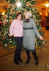 Girlfriends At Christmastime (Laurette Victoria) Tags: diana laurette girlfriends woman xmas tree suit boots hotel milwaukee lobby pfisterhotel
