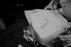 the fun is inside (FlypaperPx) Tags: black white monochrome monochromatic box boxes writing preent present package happy happiness spontaneous life