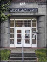 Supply Department (NoJuan) Tags: sign oldsign itsasign magnusonpark seattlewa washingtonstate olympuspenf 35100mm panasonic35100 microfourthirds micro43 mirrorless door doorway steps entrance
