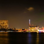 Panoramic night view of the Marina Bay Skyline, viewed from the Fullerton Bay thumbnail