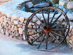 Rest Stop (studioferullo) Tags: art beauty bright colorful colourful colors colours contrast dark design detail downtown edge light lines nopeople perspective pattern pretty scene southwest study street texture tone world tubac arizona wagon wheel wall round circle