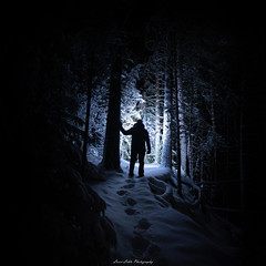 Step into the Light. (laurilehtophotography) Tags: suomi finland kapeenkoski nature forest night winter winterwonderland light selfie footstep shadow darkness snow ice cold nikon d750 sigma 20mm art logexposure nightscape