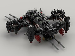 n75 thompson transport gunship (battleship)3 (demitriusgaouette9991) Tags: lego ldd military army armored powerful deadly destroyer vtol aircraft railgun lasers lmg landing bombs turret transport future flying cockpit whitebackground