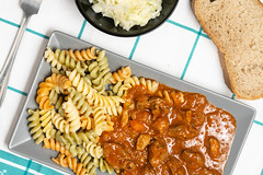 Flat lay above served colorful Macaroni with meat Goulash (wuestenigel) Tags: close american sauce portion forcemeat meat red pasta italian homemade cooked goulash meal mince baked suey tomato closeup elbow serving dinner macaroni cooking table tasty background paprika food classic wooden cuisine pan casserole chop parmesan onion beef stew cheese spoon