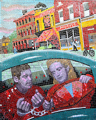 Saboteur (R~P~M) Tags: mosaic mural art alfredhitchcock film movie train railway station leytonstone londonunderground centralline london england uk unitedkingdom greatbritain saboteur
