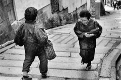 On the slope 619 (soyokazeojisan) Tags: japan osaka city street people bw blackandwhite monochrome analog olympus m1 om1 50mm film trix kodak memories 1970s