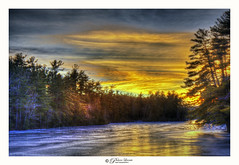 Harris Pond Sunset (Pearce Levrais Photography) Tags: sunset sunrise lake pond ice frozen landscape forest tree winter sky cloud outside outdoor nature explore nh newhampshire canon hdr
