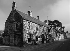 The Wheatsheaf (JamieHaugh) Tags: northleach wheatsheaf pub inn gloucestershire england uk gb britain sony alpha zeiss ilce7rm2 a7rii building old blackandwhite blackwhite black white bw monochrome mono cotswolds architecture history hisctoric seventeenth century virginia creeper spooky ghosts haunting haunted plants walls country
