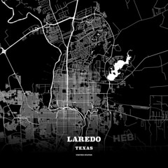 Black map poster template of Laredo, Texas (Hebstreits) Tags: american architects area arge atlas background black cityplan clean design destination detail downtown easy geography high highways image interstate lakes landmarks laredo macro map mono monochrome openstreetmap outline outlines path pattern pdflicense poster quality region roads simple states streetmap symbol texas texture tourist traffic train transportation travel trip united urban us usa vacation vector white