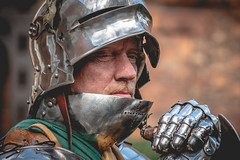Waiting (Andy..D) Tags: commandery d500 worcester worcestercommandery fjr5 armour sword menatarms manatarms knight poleaxe battle axe portrait medieval chainmail reenactment helmet helm shield