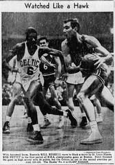 Boston's Bill Russell races to block a move by St. Louis Hawk's Bob Pettit in the 1957 NBA championship game. (Jbsbbailey) Tags: boston celtics st louis hawks nba championship 1957 bill russell cliff hagan bob pettit